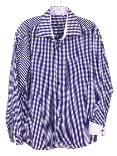 Marcello Sport Purple White Checks Contrast Flip Cuff Button Down Shirt Mens M - Preowned - FunkyCrap Boutique