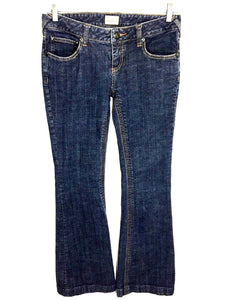 Free People Flare Leg Dark Wash Jeans Low Rise Stretch Women's 27 Actual 29x33 - Preowned - FunkyCrap Boutique