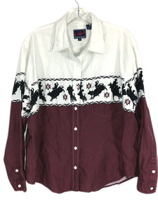 Roper Western Bull Riding Rodeo Aztec Maroon Button Down Polo Shirt Mens 1X - FunkyCrap Boutique