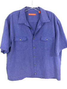 Tori Richards Blue Rayon Blend Button Front 2 Pocket Camp Shirt Men's Large L - Preowned - FunkyCrap Boutique