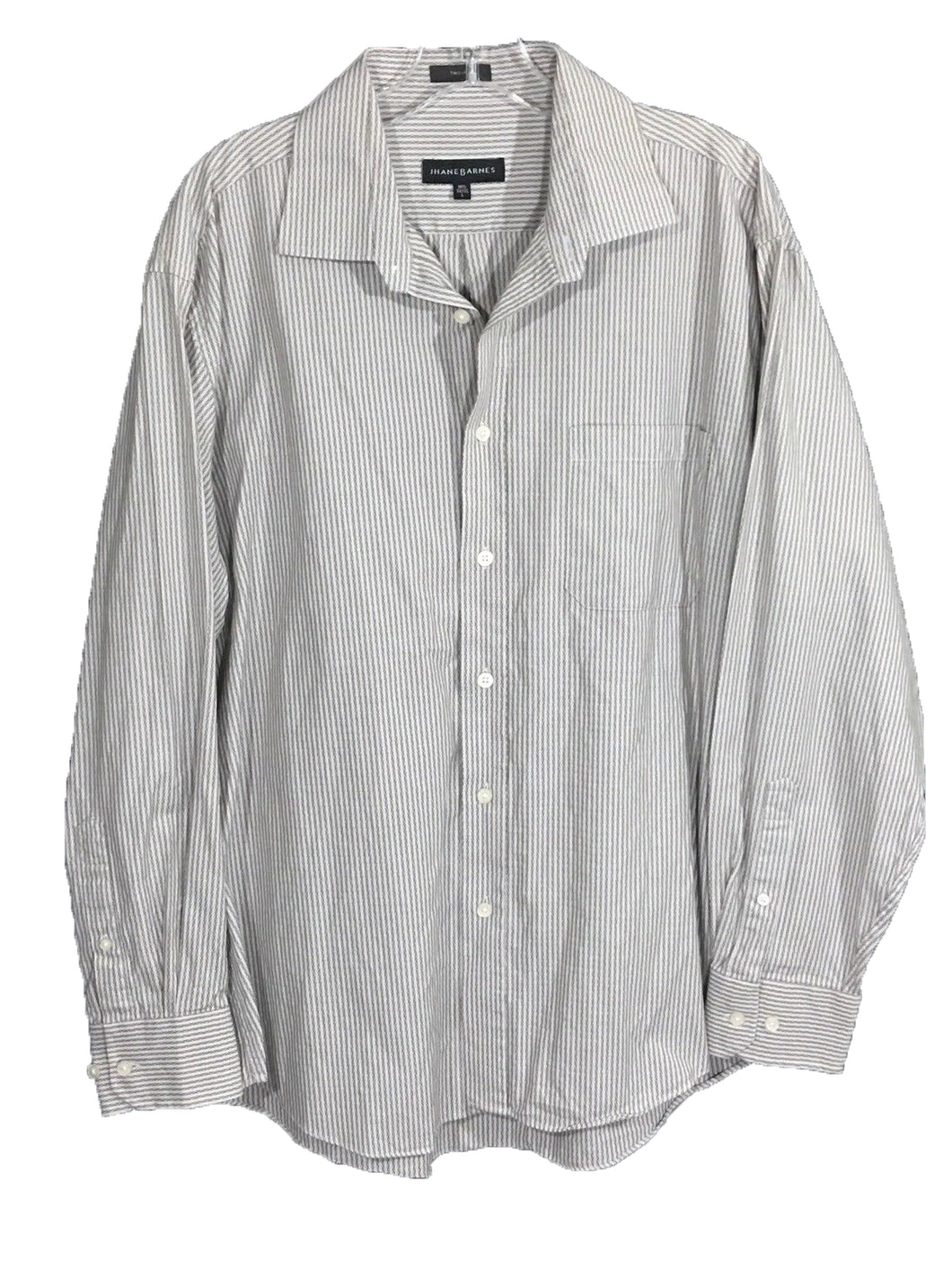 Jhane Barnes Gray White Striped Zig Zag Aztec Button LS Shirt Mens L 16.5 34/35 - Preowned - FunkyCrap Boutique