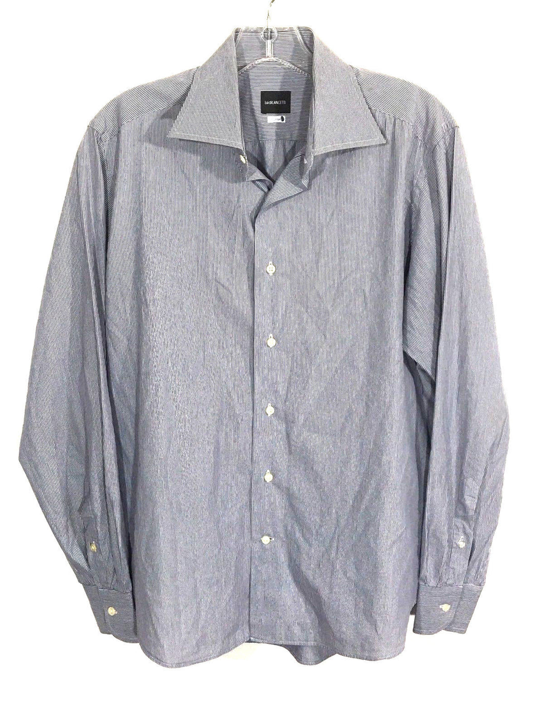 Lui di LANCETTI Custom Blue White Striped Button Down Dress Shirt Men 15 3/4-40 - Preowned - FunkyCrap Boutique