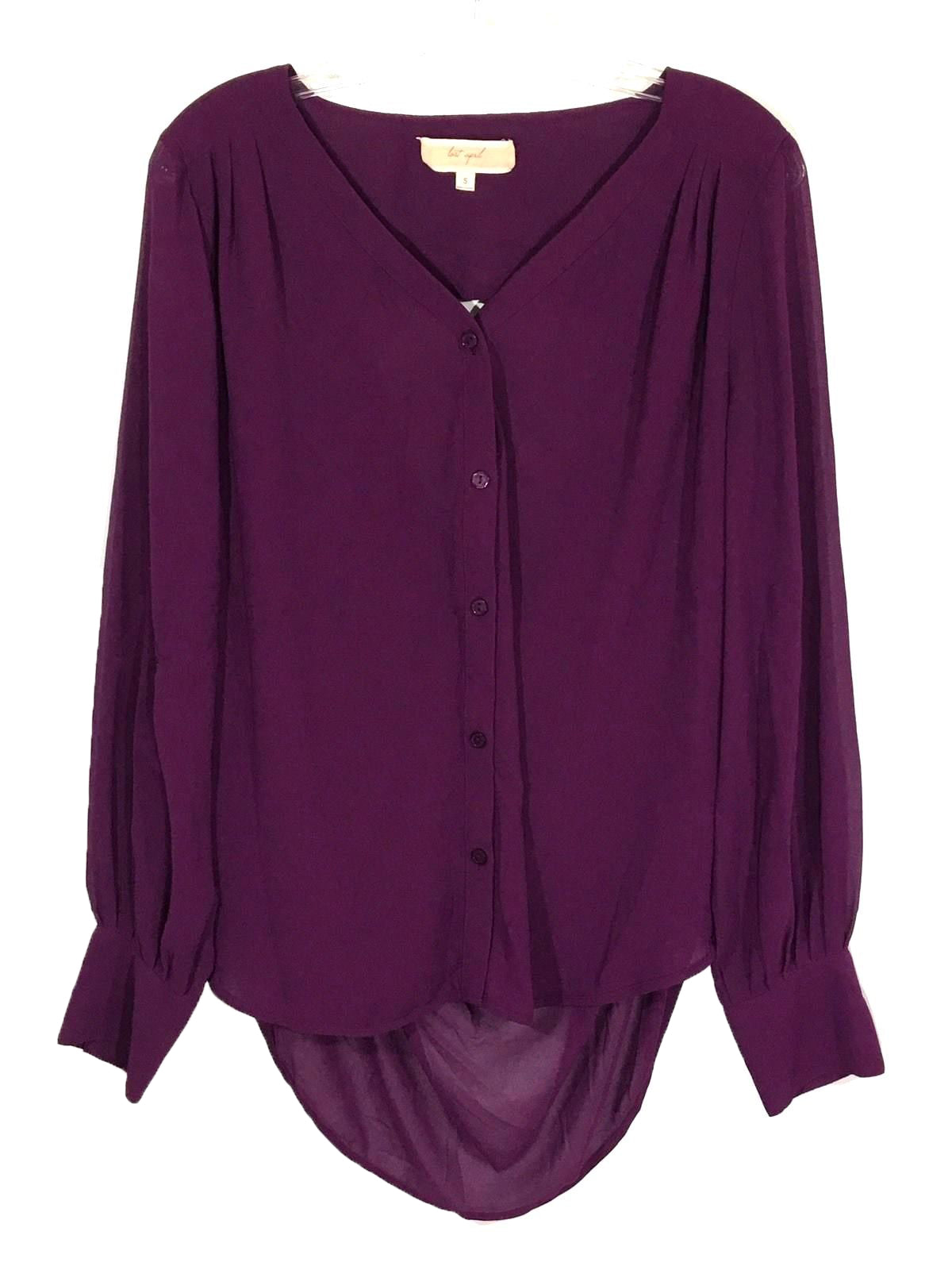 935807a6 ... Lost April Button Down Blouse Open Back Sheer Shirt Boho Flowy Womens  Small S - Preowned ...