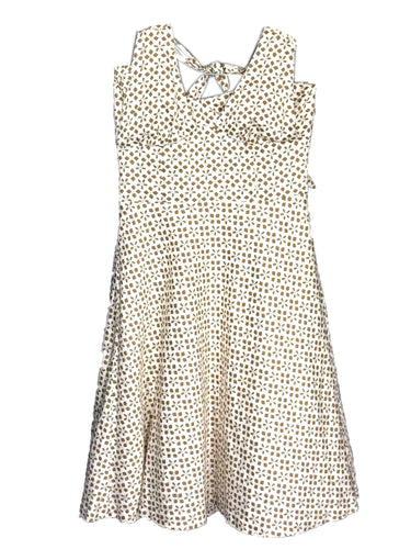 Trina Turk Los Angeles Halter Dress Brown Tan Floral Geometric Lace Trim Women 8 - Preowned - FunkyCrap Boutique