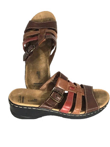 Clarks Collection Soft Cushion Wedge Slide Sandal Brown Red Tan Womens 10M 10 M - Preowned - FunkyCrap Boutique