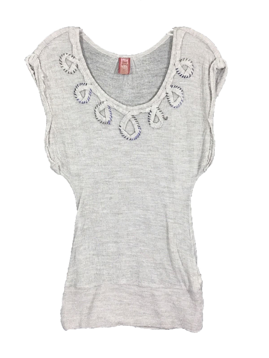 Free People Acrylic Wool Gray Sheer Top Shirt Boho Peasant Hippie Soft Womens XS - Preowned - FunkyCrap Boutique