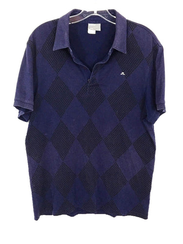 J.Lindeberg Blue Argyle Diamond Houndstooth 4 Button Polo Shirt Mens Large L - FunkyCrap Boutique