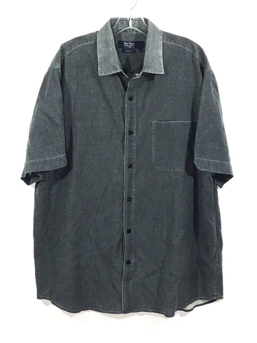 Nat Nast American Fit Button Shirt Silk Blend Vented Gray Blue Mens Large L - Preowned - FunkyCrap Boutique