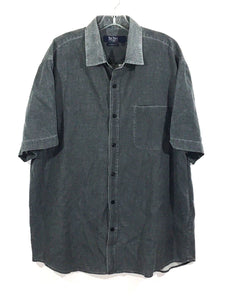 Nat Nast American Fit Button Shirt Silk Blend Vented Gray Blue Mens Large L - FunkyCrap Boutique