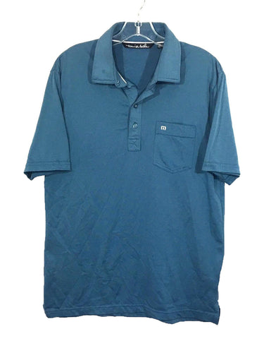 Travis Mathew Polo Green Blue Front Pocket 4 Button Golf Tennis Shirt Mens M - Preowned - FunkyCrap Boutique