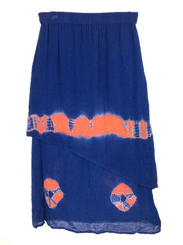 Original Anthony Hippie Tie Dye Tiered Boho Orange Blue Rayon Skirt Womens M - FunkyCrap Boutique