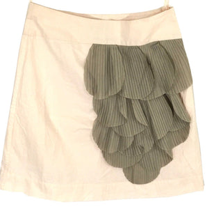 Floreat Anthropologie Skirt Ruffle Petals Pink Beige Rose Of Sharon Womens 0 - Preowned - FunkyCrap Boutique
