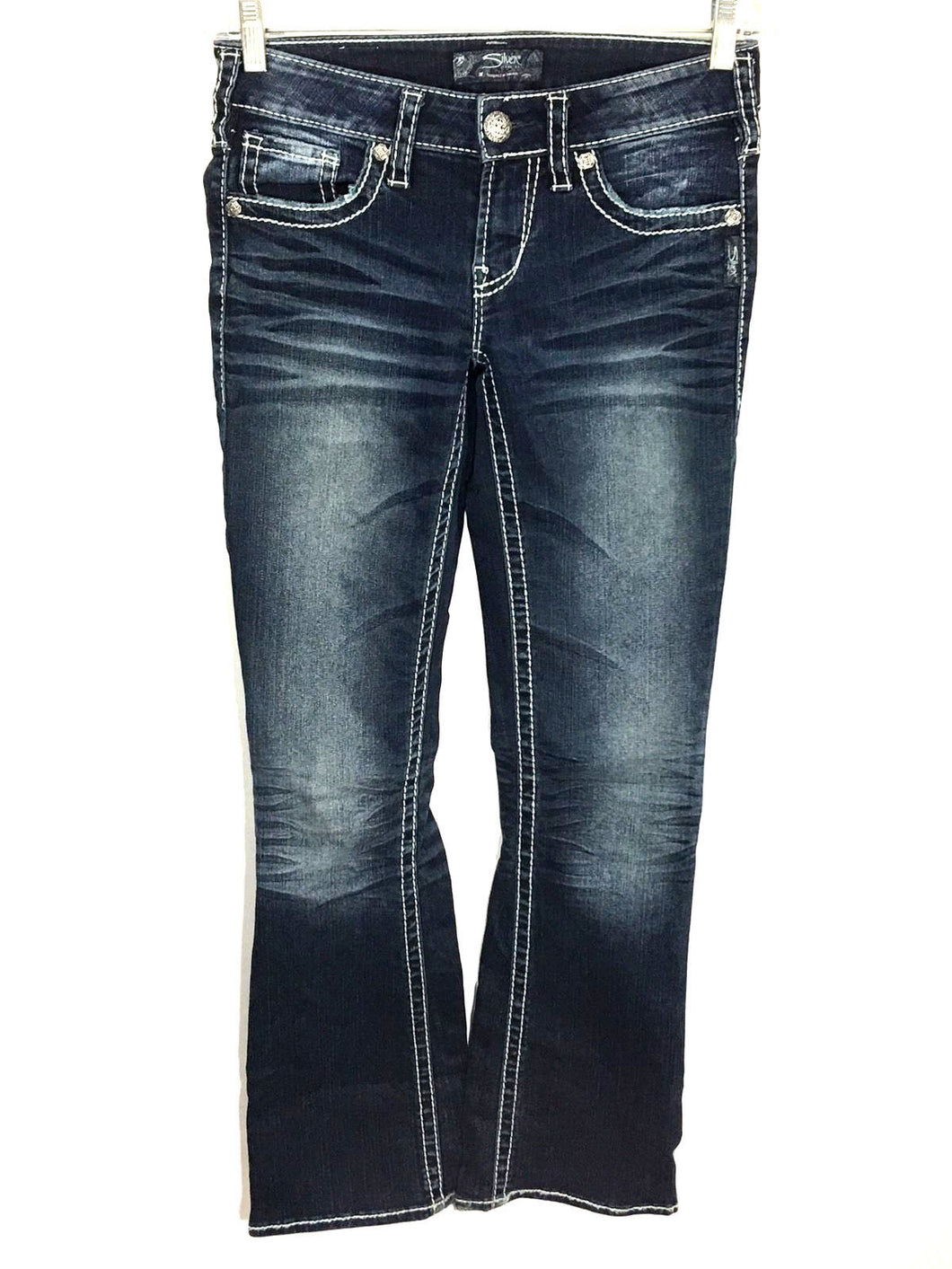Silver Jeans Aiko Boot Cut Dark Wash Thick Stitch Women's 26 x 31 Actual 26x30 - FunkyCrap Boutique