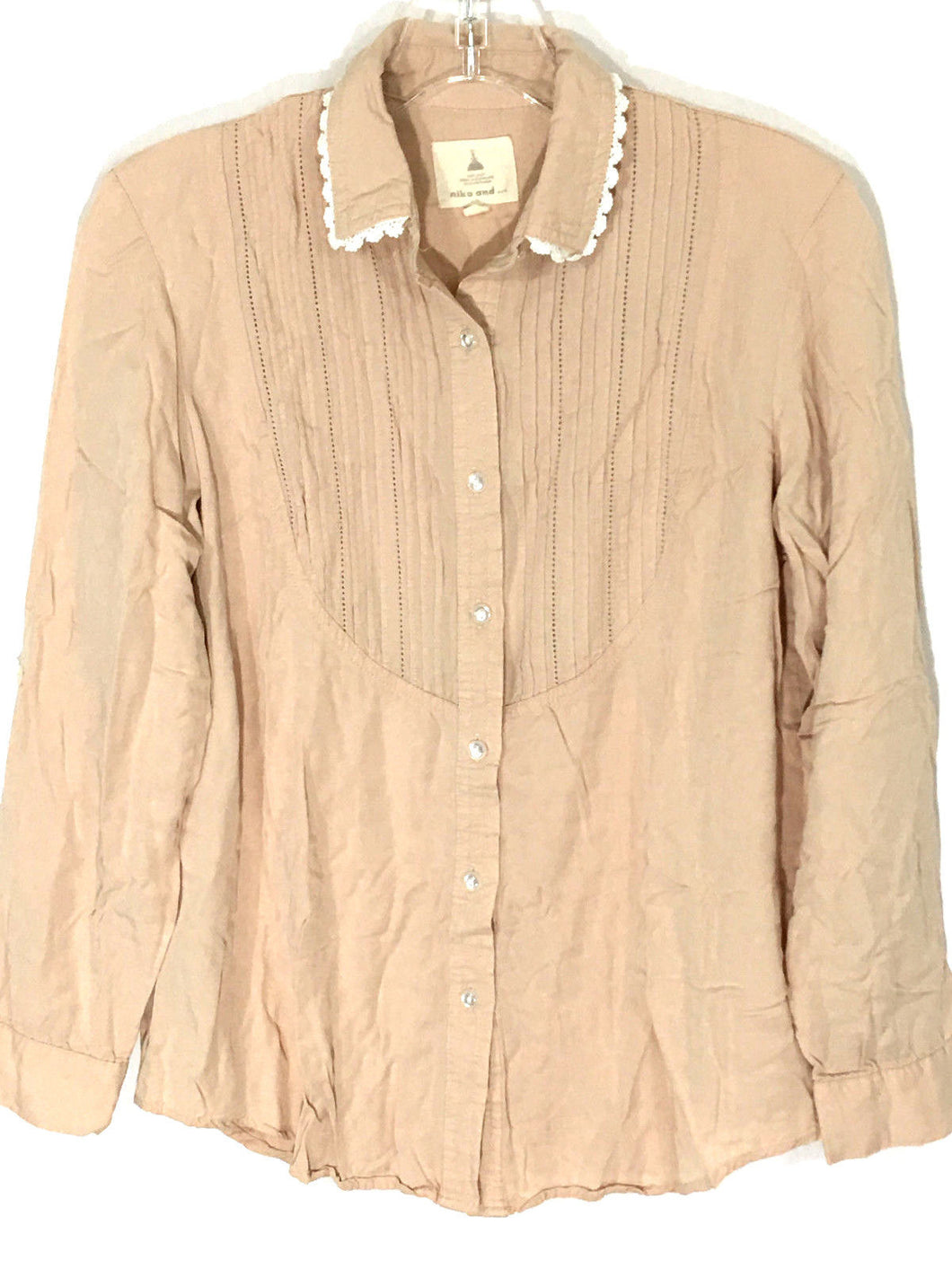 Niko And... Blouse Bib Ruffle Button Down Peach Shirt Lace Trim Womens Medium - Preowned - FunkyCrap Boutique