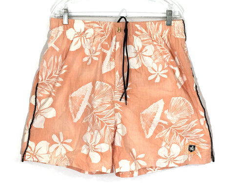Nat Nast Swim Board Shorts Orange Peach Floral Hawaiian Mens XL Actual 32 x 19 - Preowned - FunkyCrap Boutique
