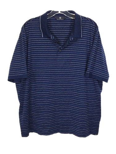 Hart Schaffner Marx HSF Blue Striped 3 Button Cotton Polo Casual Shirt Men's XL - Preowned - FunkyCrap Boutique