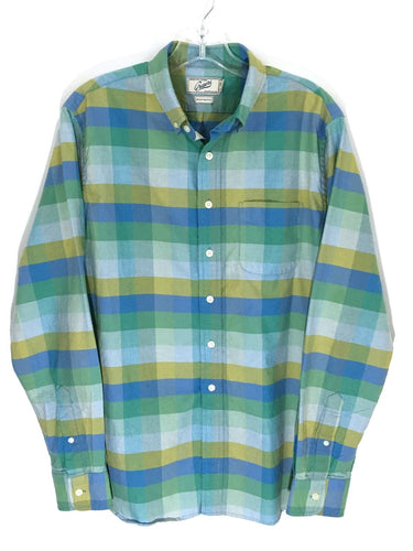 Grayers Clothiers Shirt Button Colorblock Blue Green Checks Striped Mens Small S - Preowned - FunkyCrap Boutique