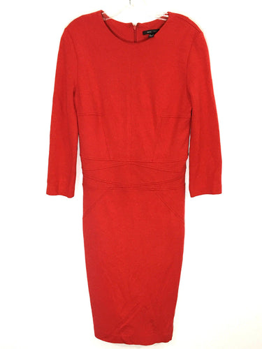 MNG Suit Dress Red Sheath Accent Geo Midi Shift Stretch Lined Womens Medium - Preowned - FunkyCrap Boutique