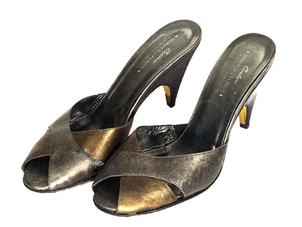 Couture Donald Pliner Heels Italy Peep Toe Sandal Metallic Bronze Shoe Women 9 M - Preowned - FunkyCrap Boutique
