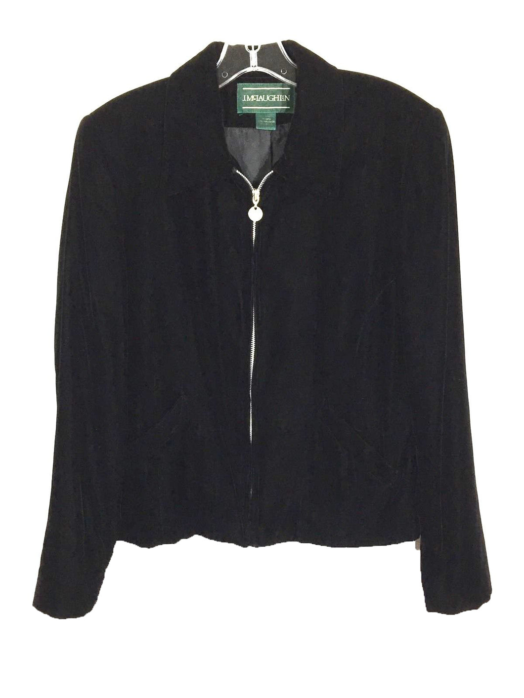 J. McLaughlin Black Velvet Full Zip Blazer Jacket Padded Shoulder Women's Size 8 - Preowned - FunkyCrap Boutique