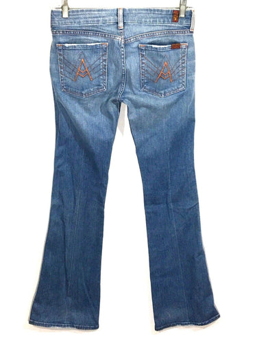 7 For All Mankind A-Pocket Light Wash Low Rise Womens 28 Actual 28 x 32.5 - Preowned - FunkyCrap Boutique