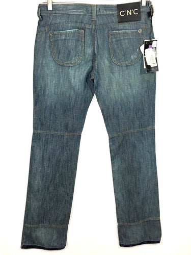 Costume National CNC Classic Jeans Railroad Striped Logo Womens 28 EU 42 NWT - FunkyCrap Boutique