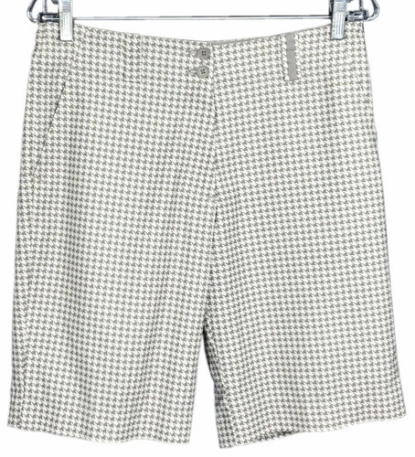 Nike Golf Fit Dry Bermuda Shorts Houndstooth Gray Tan Stretch Womens 6 - Preowned - FunkyCrap Boutique