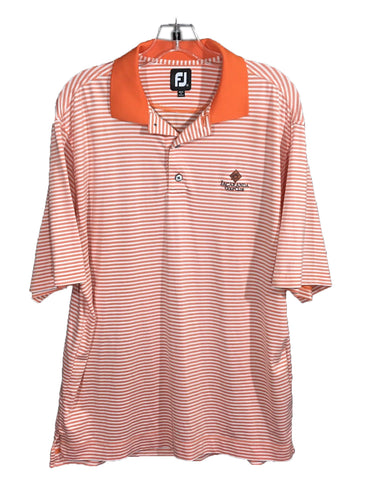 FootJoy FJ Orange White Striped Jacaranda Golf Club Polo Shirt Mens Medium M - Preowned - FunkyCrap Boutique
