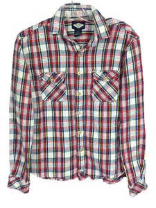 d1277e8b87dc Salt Valley Plaid Flannel Button Down Shirt Red Yellow Blue Pockets Mens  Small S - FunkyCrap