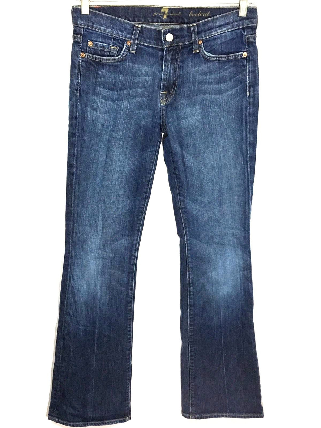 7 For All Mankind Boot Cut Dark Wash Low Rise Women's 27 Actual 29 x 31 - Preowned - FunkyCrap Boutique