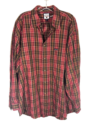Faconnable Red Plaid Single Pocket Cotton Button Down Dress Shirt Men's Size XL - Preowned - FunkyCrap Boutique