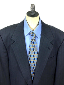 Jhane Barnes Blue Shadow Striped One Button Wool Suit Jacket Blazer Men 43L - Preowned - FunkyCrap Boutique