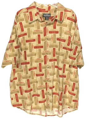Woolrich Khaki Kayaks Canoes Camping Red Brown Pocket Button Shirt Mens Large L - Preowned - FunkyCrap Boutique