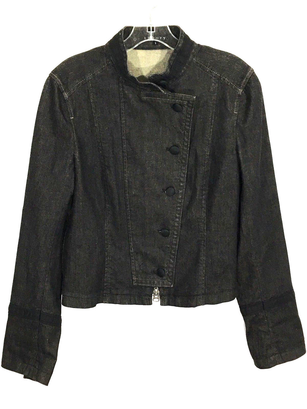 Theory Military-Style Denim Jean Jacket Satin Buttons Full Zip Black Women's L - FunkyCrap Boutique
