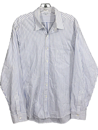 Steven Alan White Blue Gray Striped Button Front Pocket Dress Shirt Mens Size L - Preowned - FunkyCrap Boutique
