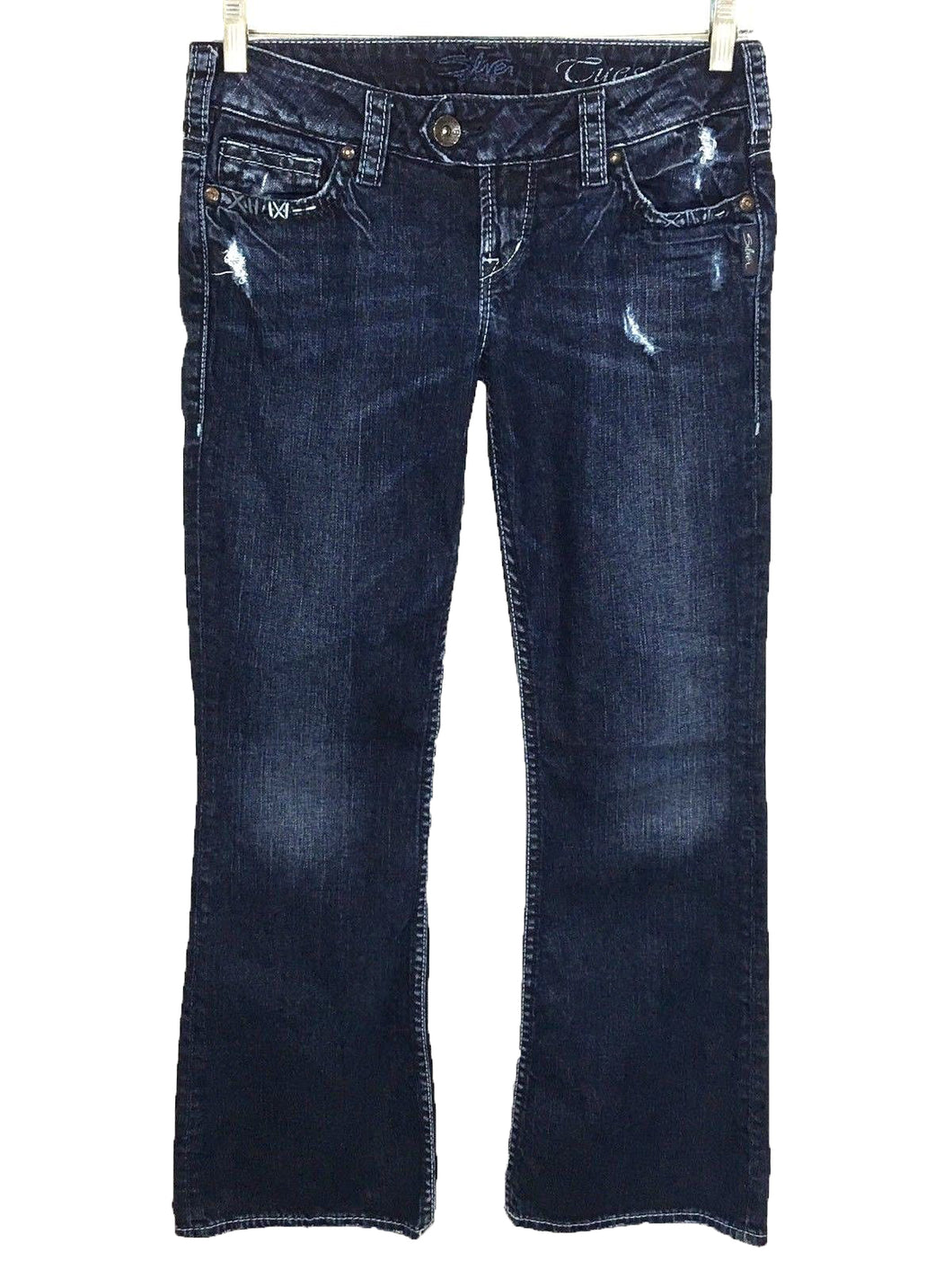 Silver Jeans Tuesday Dark Wash Distressed Stretch Womens 27 x 29 Actual 29x30 - FunkyCrap Boutique