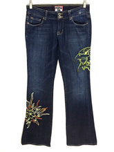 People For Peace Embroidered Hippie Boho Flare Dark Jeans Womens 27 28 x 33.5 - FunkyCrap Boutique