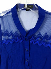 Mine Anthropologie Blue Sheer Tie Button Down Lace Top Blouse Women's L Large - Preowned - FunkyCrap Boutique