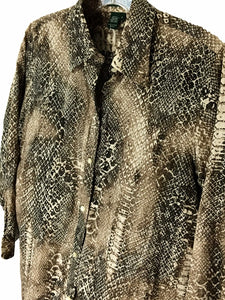 Ralph Lauren Snake Skin Animal Print Blouse Brown Button Shirt Womens Small S - FunkyCrap Boutique