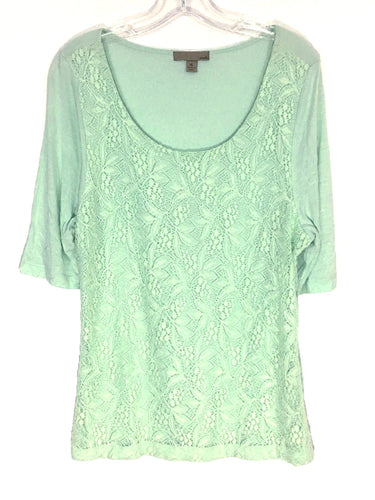 oneA Blouse Mint Light Green Spring Floral Lace Overlay Rayon Shirt Womens XL - FunkyCrap Boutique