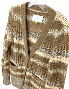 Leifsdottir Cardigan Sweater Button Gold Metallic Brown Mohair Acrylic Womens L - Preowned - FunkyCrap Boutique