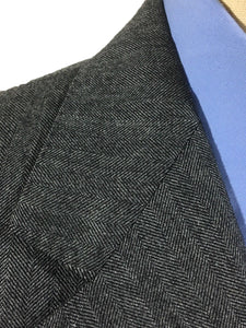 Vintage Burberrys Wool Charcoal Gray Herringbone Sport Coat Blazer Mens 40L - Preowned - FunkyCrap Boutique