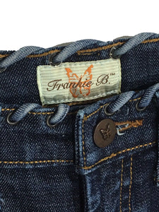 Frankie B Jeans Lace Contrast Blue Accent Waist Flap Snap Pockets Womens 4 - Preowned - FunkyCrap Boutique