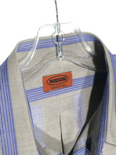 Missoni Italy 2 Pocket Blue Striped Gray Button Front Dress Shirt Men's Eur 48 S - Preowned - FunkyCrap Boutique