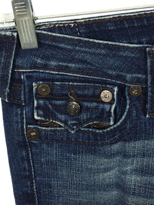 True Religion Jeans Joey Faux Leather Flap Pocket Twisted Dark Wash Womens 28 - Preowned - FunkyCrap Boutique