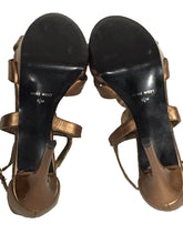 Nine West Strappy Gold Stiletto Heels Bling Sequin Ankle Strap Womens 5.5 M - Preowned - FunkyCrap Boutique