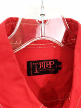Tripp NYC Bright Red Button Down White Stitch Pocket Casual Shirt Men's Medium M - Preowned - FunkyCrap Boutique