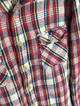 Salt Valley Plaid Flannel Button Down Shirt Red Yellow Blue Pockets Mens Small S - FunkyCrap Boutique