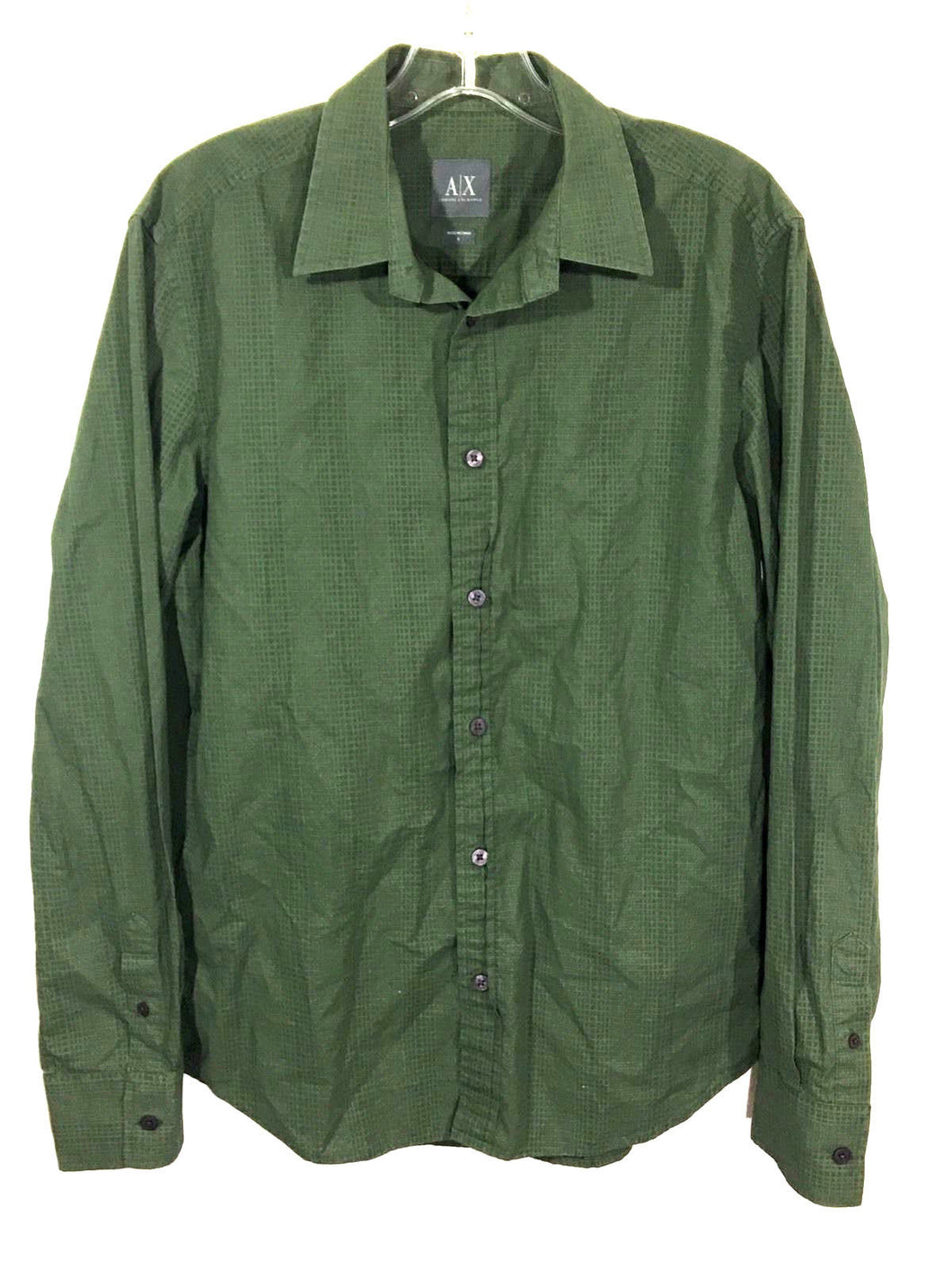 Armani Exchange AX Green Square Geometric Button Down Shirt Green Mens Small S - Preowned - FunkyCrap Boutique