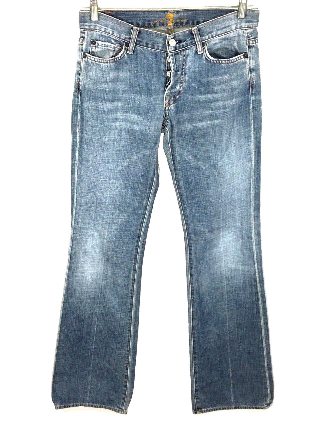 7 For All Mankind Boy Cut Button Fly Light Wash Jeans Women's 29 Actual 30 x 34 - Preowned - FunkyCrap Boutique